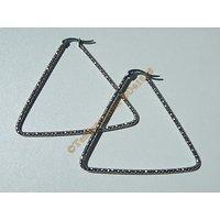 Boucles d'Oreilles Créoles Forme Triangle Tréssé 56 mm Pur Acier Inoxydable Chirurgical Argenté