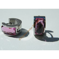 Boucles d'Oreilles Mini Créoles Ronde14 mm Pur Acier Inoxydable Chirurgical Argenté Strass Rose Faceté 5 mm