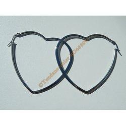Boucles d'Oreilles Créoles Forme Coeur 60 mm Pur Acier Inoxydable Chirurgical Argenté Amour Love
