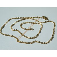 Chaine Collier 45 cm Style Maille Jaseron Doré Plaqué Or Pur Acier Inoxydable Chirurgical 1,9 mm