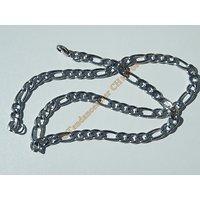 Chaine Collier 51 cm Maille Figaro 1+3 Argenté Pur Acier Inoxydable Chirurgical 7 mm
