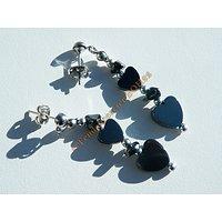 Boucles d'Oreilles Pendantes Double Coeurs Love Amour Hématite Valentine 45 mm