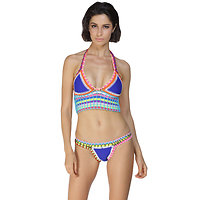 Maillot de bain 2 pieces bikini Multicolore Crochet Bleu rose néoprène XL