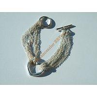 Bracelet Femme Plaqué Argent 925 Coeur Love Multi Chaine Toggle 18 cm
