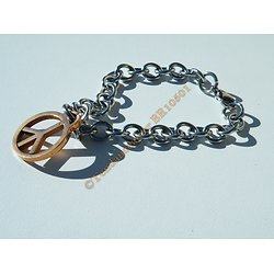 Bracelet Pur Acier Inoxydable Plaqué Or Rose Peace And Love Mode