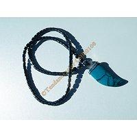 Collier Litothérapie Pure Hématite Pendentif Corne Griffe Turquoise