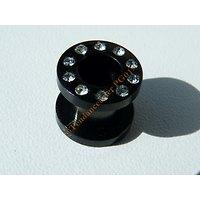Piercing Plug Noir 10 Zirconia Strass 8 mm Acier Titane
