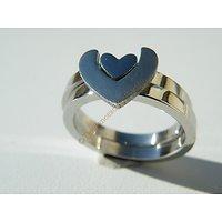 2 Alliances Assemblables Pur Acier Inoxydable 2 Coeurs Saint Valentin Couple Amoureux