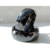Bague Pure Céramique Multi Facettes Noires Incassable Inrayable 8 mm