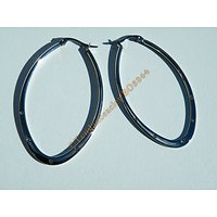 Boucles d'Oreilles Acier Inoxydable Créoles Ovales 50 mm 5 Zircons Strass