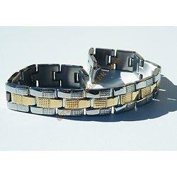 Gourmette Massive Bracelet Argenté Plaqué Or Strié Brillant Acier Inoxydable 11 mm
