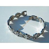Bracelet Magnétique Aimants Pur Acier Inoxydable 10 Zirconias Strass