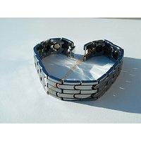 Gourmette 5 Bandes Bracelet 12 mm Tungstène Magnétique Magnétothérapie