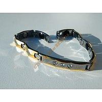 Gourmette Bracelet Pur Tungsten Doré Plaqué Or 3 Zircons Magnétotherapie