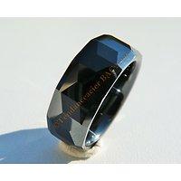 Bague Pure Céramique Large Facettes Noires Incassable Porcelaine 8 mm