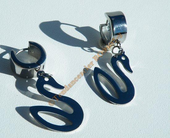 Boucles d/'Oreilles Créoles Acier Inoxydable Argenté Cygne Pendantes 42 mm