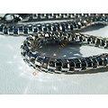 Chaine Collier 46 cm Pur Acier Inoxydable Serpentine Argenté 8 mm 3 Dimensions