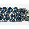 Chaine Collier 61 cm Argenté Pur Acier Inoxydable Maille Gourmette Large 13 mm Fermoir Fleur de Lys