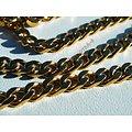 Chaine Collier 60 cm Pur Acier Inoxydable Maille Gourmette 4 mm Doré Plaqué Or