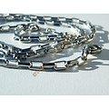 Chaine Collier Ras De Cou 60 cm Pur Acier Inoxydable Maille Rectangle 3 mm Argenté