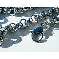 Chaine Longue Collier 60 cm Argenté Pur Acier Inoxydable Maille Jaseron Ronde Multi Facette 9 mm