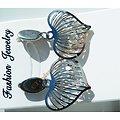 Boucles d'Oreilles Clou Pur Acier Inoxydable Argenté Coeur Love Cage 4 Diamant Strass Libre Saint Valentin
