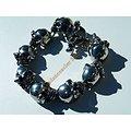 Bracelet Rare Argenté Skull Pur Acier Inoxydable 8 Tetes de Mort Fracassé Gothique 18 mm