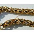 Bracelet 22 cm Maille Palmier 6 mm Pur Acier Chirurgical Inoxydable Doré Plaqué Or