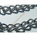 Chaine Collier 46 cm Maille Fantaisie Strié Argenté Pur Acier Inoxydable Chirurgical 8 mm
