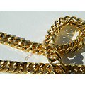 Chaine Collier 71 cm Maille Fantaisie Gourmette Or Pur Acier Inoxydable Chirurgical 5,5 mm