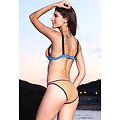 Bikini haut forme triangle bleu orange noir grande taille