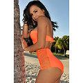Bikini Néon Orange maillot été taille haute fentes XL Grande taille
