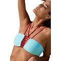 Maillot de bain 2 pieces Strap Bandeau Bikini bleu clair  rouge XXL