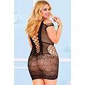 Sexy lingerie Nuisette corset maille noir mini robe XXL 2XL