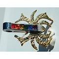 Pendentif Acier Inoxydable Araignée Doré Plaqué Or Pince 6 Strass Multicolore Arc en Ciel