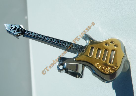 Pendentif Guitare Musique Acier Inox Argenté Plaqué Or Hard Rock 16 Cz Zc Strass