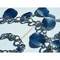 Collier Pampilles Argenté Sequins Ovales Breloques Acier Inoxydable 52 cm