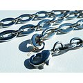 Collier Chaine 54 cm Ajustable Acier Inoxydable Maille Ronde Ovale Fine 6 mm