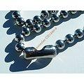 Collier Dog Tag Chaine Longue 60 cm Acier Inoxydable Boules Argenté 8 mm
