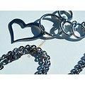 Collier Ras de Cou 46 cm Pur Acier Inoxydable Coeur Anneaux Brillant Love