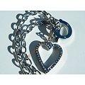Collier Acier Inoxydable Brillant Coeur Love 37 Zircons Strass Valentine