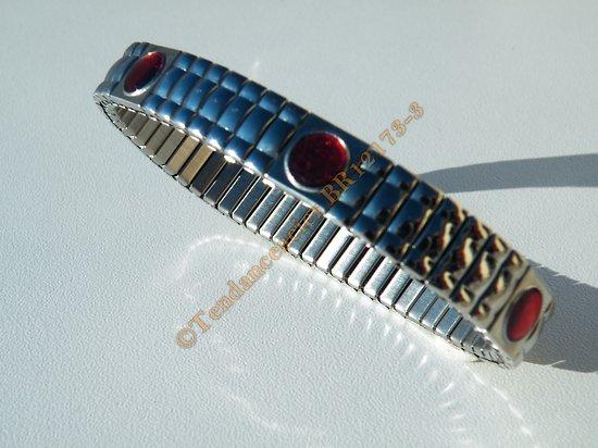 Bracelet Ajustable Extensible Acier Inox Bombé 9 Strass