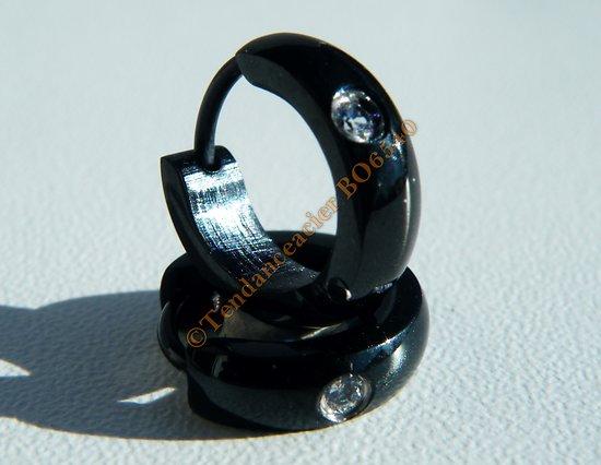 Boucles d'Oreilles 13 mm Créoles Acier Inoxydable Noir 1 Zc Cz Strass 4 mm