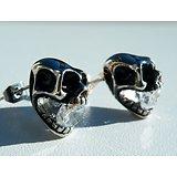 Boucles d'Oreilles Clous Acier Inoxydable Skull Tete De Mort Diamant Strass Zircon