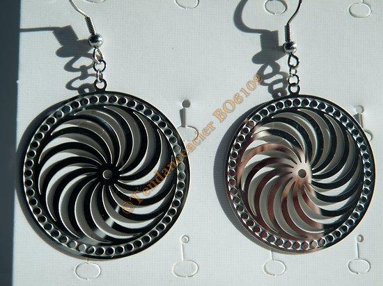 Boucles d'Oreilles Pendantes Acier Inoxydable Argenté Spirale Ouragan 62 mm
