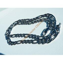 Collier 60 cm Chaine Pur Acier Inoxydable Maille 3 + 1 Figaro 7 mm Argenté