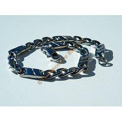 Bracelet Maille Figaro 1 + 3 Pur Acier Inoxydable 6 mm Argenté Ajustable