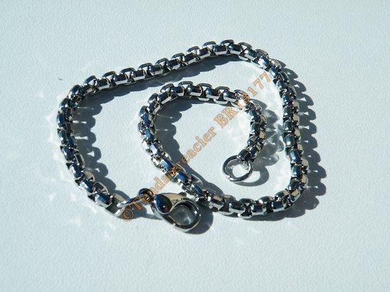 Bracelet Fin Acier Inoxydable Maille Vénitienne Argenté 3 mm