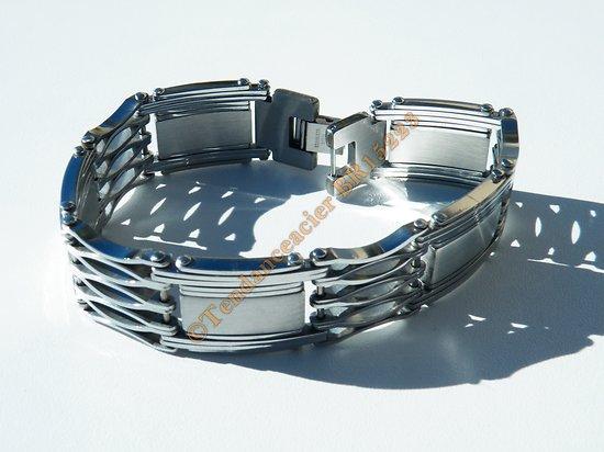 Bracelet Gourmette Découpe Vierge Extra Large 18 mm Pur Acier Inoxydable