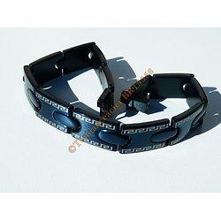 Bracelet Plaqué Noir Pur Acier Inoxydable Motif Celte Tribal Grec 11 mm